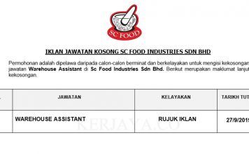 SC Food Industries ~ Warehouse Assistant