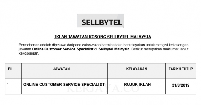 Sellbytel Malaysia ~ Online Customer Service Specialist
