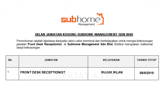 Subhome Management ~ Front Desk Receptionist