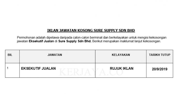Sure Supply ~ Eksekutif Jualan