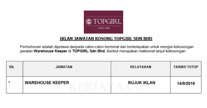 TOPGIRL ~ Warehouse keeper
