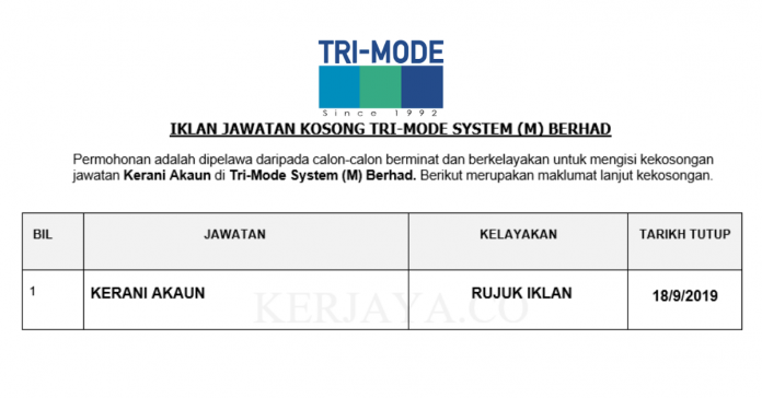 Tri-Mode System ~ Kerani Akaun