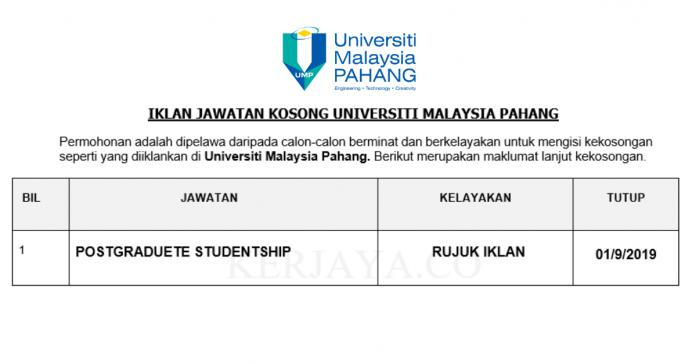 Universiti Malaysia Pahang ~ Postgraduate Studentship