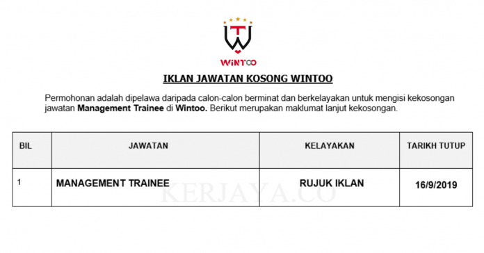 Wintoo ~ Management Trainee