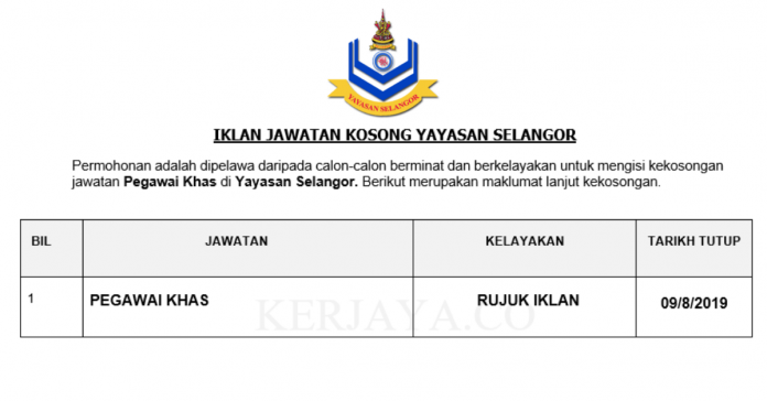 Yayasan Selangor ~ Pegawai Khas