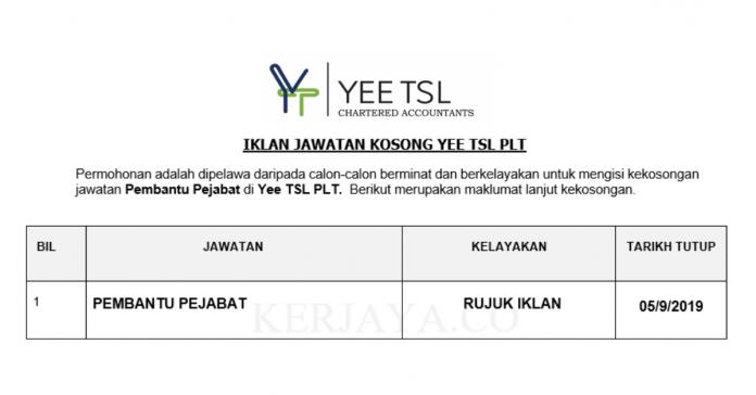 Yee TSL PLT ~ Pembantu Pejabat