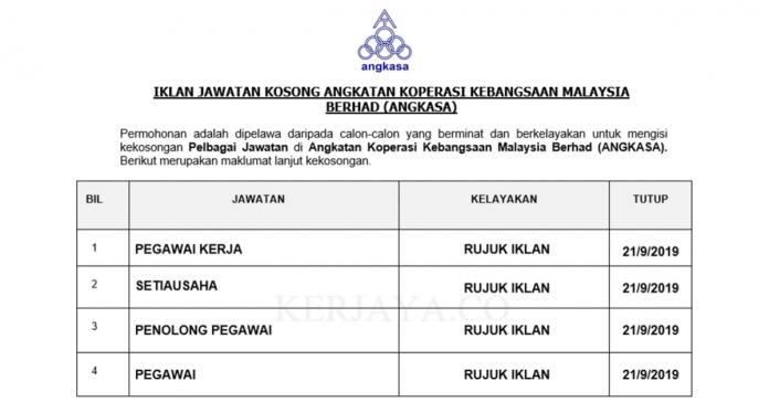 Angkatan Koperasi Kebangsaan Malaysia Berhad (ANGKASA) ~ Setiausaha, Pegawai, Peg. Kerja & Pen. Pegawai