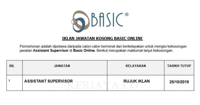 Basic Online ~ Assistant Supervisor