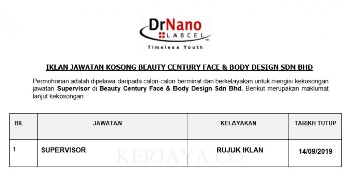 Beauty Century Face & Body Design ~ Supervisor
