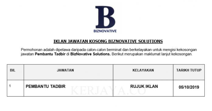 BizNovative Solutions ~ Pembantu Tadbir