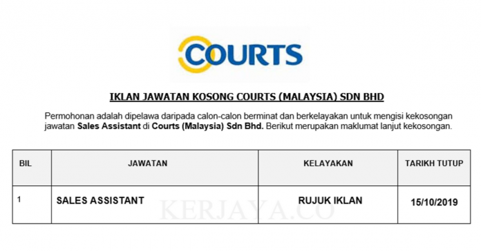 Courts (Malaysia) ~ Sales Assistant