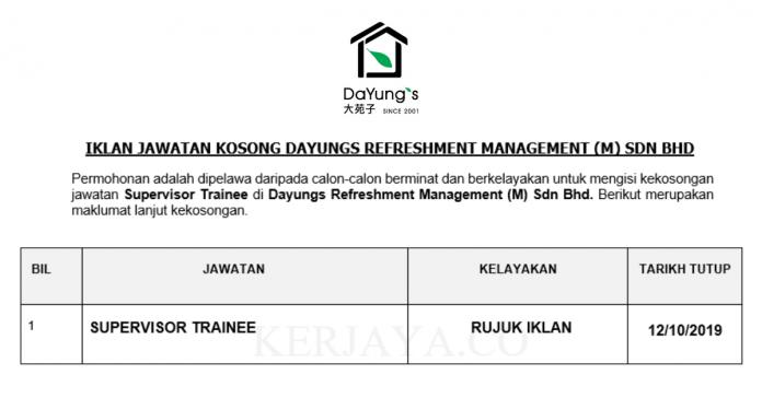 Dayungs Refreshment Management ~ Supervisor Trainee