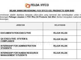 FGV Iffco Oil Products ~ Internship For Administration Students,Human Resource Management Students,Documentation Executive & Pelbagai Jawatan