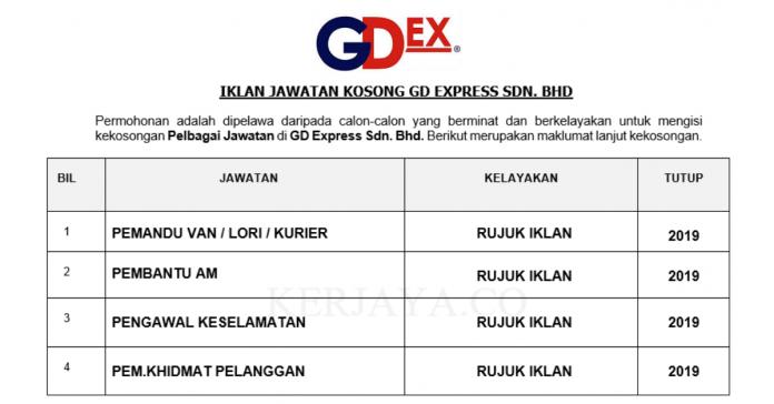 GD Express ~ Pemandu Van/Lori & Kurier, Pem.Khidmat Pelanggan, Pembantu Am & Pelbagai Jawatan Lain