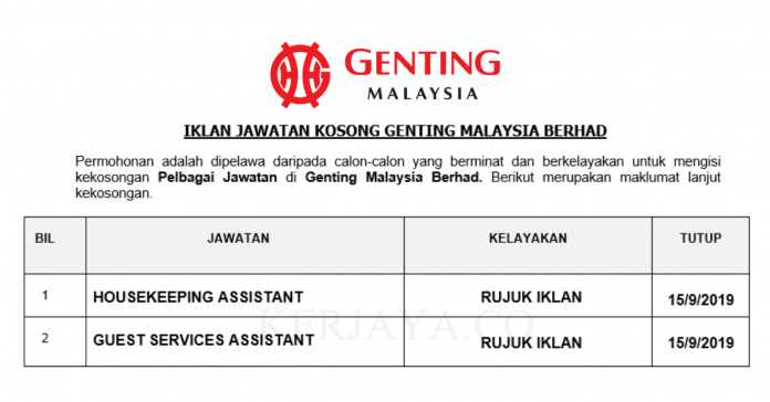 Genting Malaysia Berhad ~ Housekeeping Assistant & Guest Service Assistant
