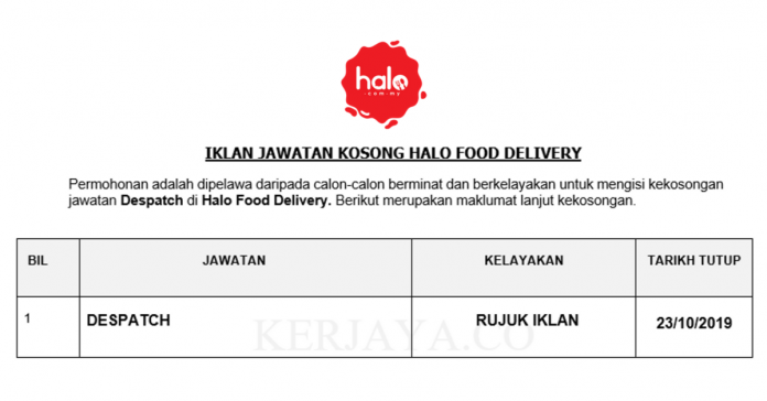 Halo Food Delivery ~ Despatch