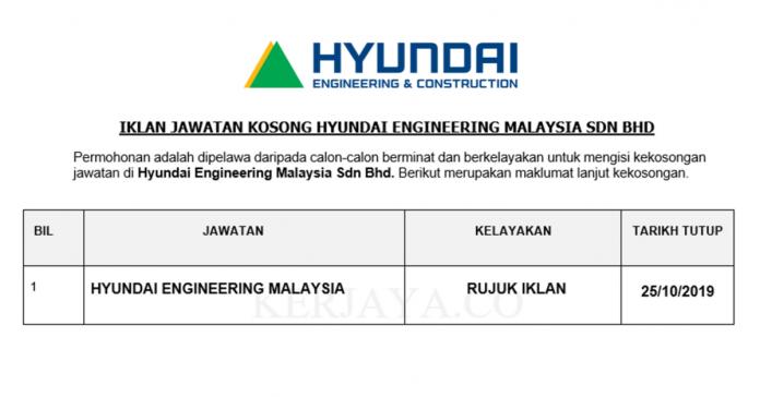 Hyundai Engineering Malaysia ~ Pelbagai Jawatan