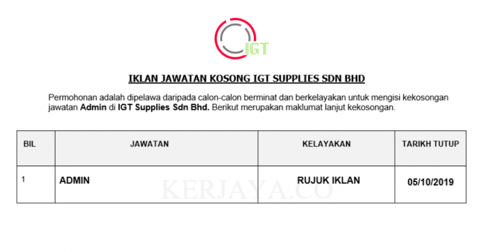 IGT Supplies ~ Admin