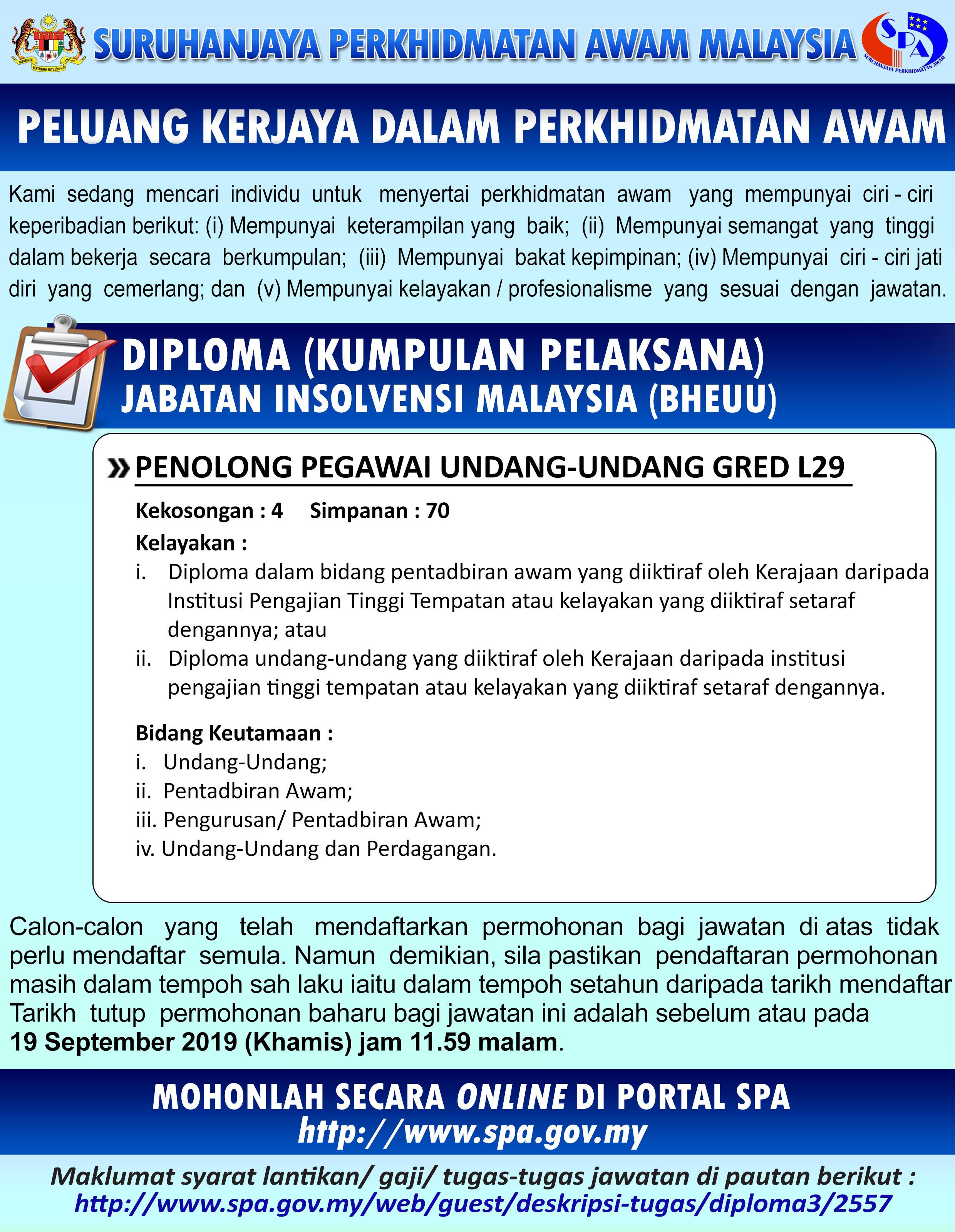 Iklan Jawatan Jabatan Insolvensi Malaysia (BHEUU)