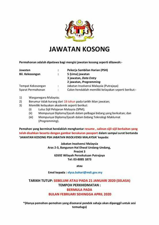 Iklan Jawatan Jabatan Insolvensi Malaysia