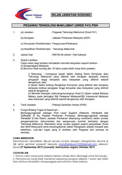 Iklan Jawatan Kosong Jabatan Perikanan Malaysia Kerja Kosong Kerajaan