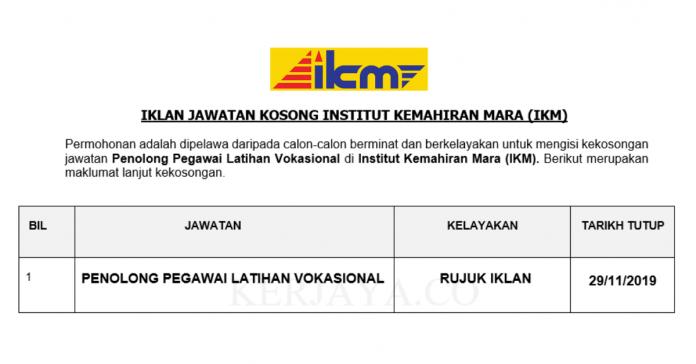 Institut Kemahiran MARA (IKM) ~ Penolong Pegawai Latihan Vokasional
