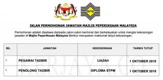 Jawatan Kosong Majlis Peperiksaan Malaysia (MPM) (1)