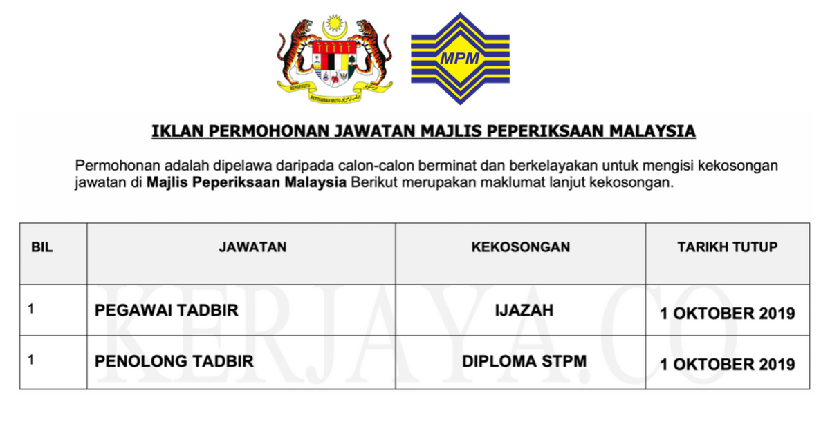 Jawatan Kosong Majlis Peperiksaan Malaysia Mpm 1 Kerja Kosong Kerajaan