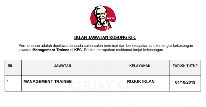 KFC ~ Management Trainee