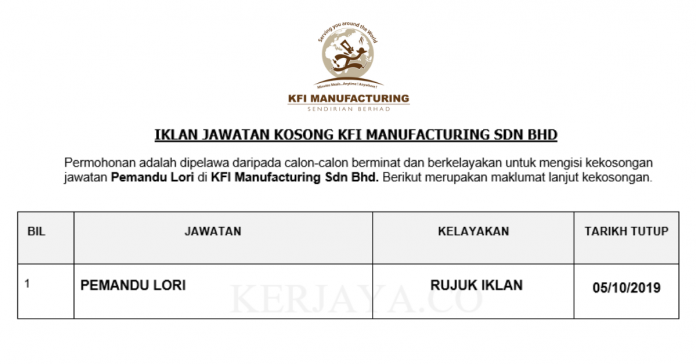 pemandu lori kfi-manufacturing