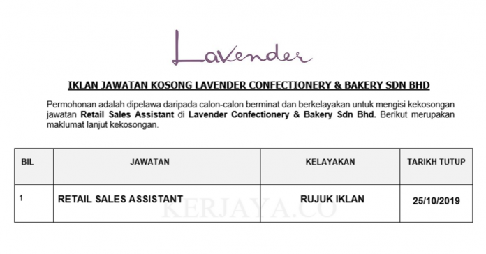 Lavender Confectionery & Bakery ~ Sales Assistant