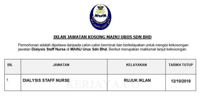 MAINJ Urus ~ Dialysis Staff Nurse