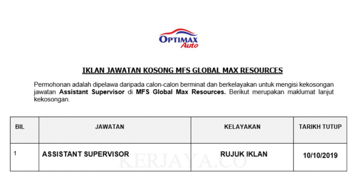 MFS Global Max Resources ~ Assistant Supervisor