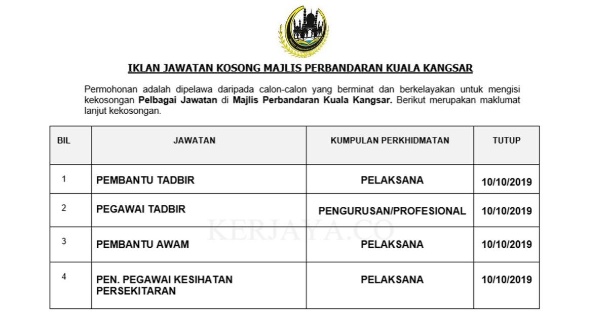 Jawatan Kosong Terkini Majlis Perbandaran Kuala Kangsar Pentadbiran Pengurusan Kerja Kosong Kerajaan Swasta