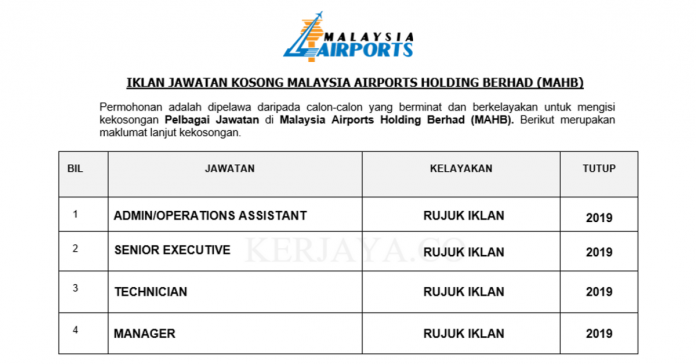 Malaysia Airports Holdings Berhad (MAHB) ~ Pelbagai Kekosongan Jawatan