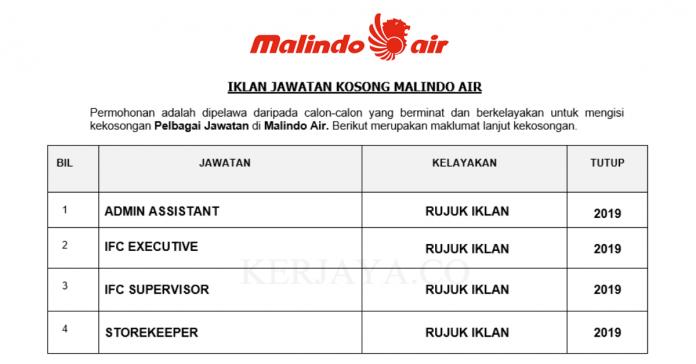 Malindo Air ~ Pembantu Tadbir & Pelbagai Kekosongan Jawatan