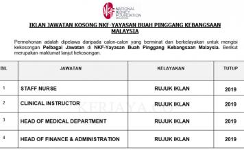 NKF-Yayasan Buah Pinggang Kebangsaan Malaysia ~ Pelbagai Kekosongan Jawatan