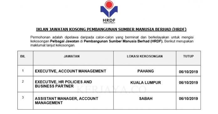 Pembangunan Sumber Manusia Berhad (HRDF) ~ Executive & Assistant Manager