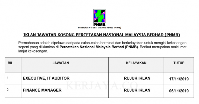 Percetakan Nasional Malaysia Berhad (PNMB) ~ Executive & Finance Manager