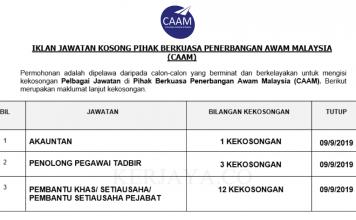 Pihak Berkuasa Penerbangan Awam Malaysia (CAAM) ~ Akauntan, Pen.Peg Tadbir & Pem. Setiausaha Pejabat
