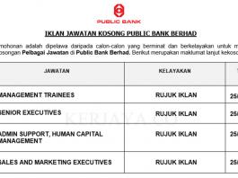 Public Bank Berhad ~ Pelbagai Jawatan