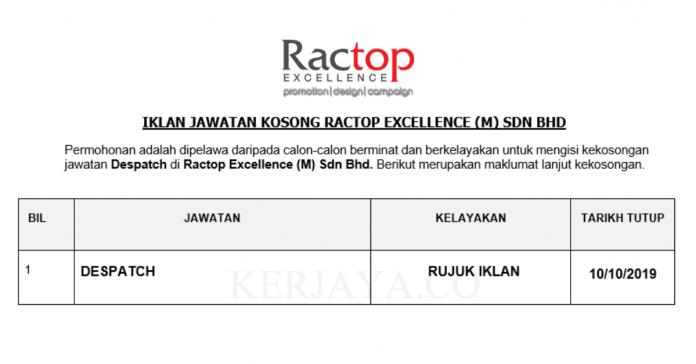 Ractop Excellence ~ Despatch