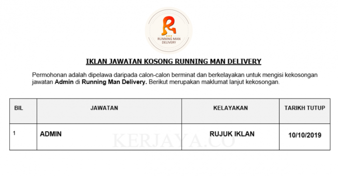 Running Man Delivery ~ Admin