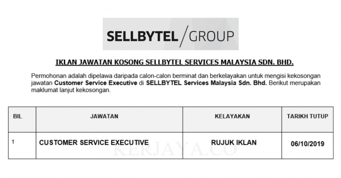 SELLBYTEL Services Malaysia ~ Customer Service Executive