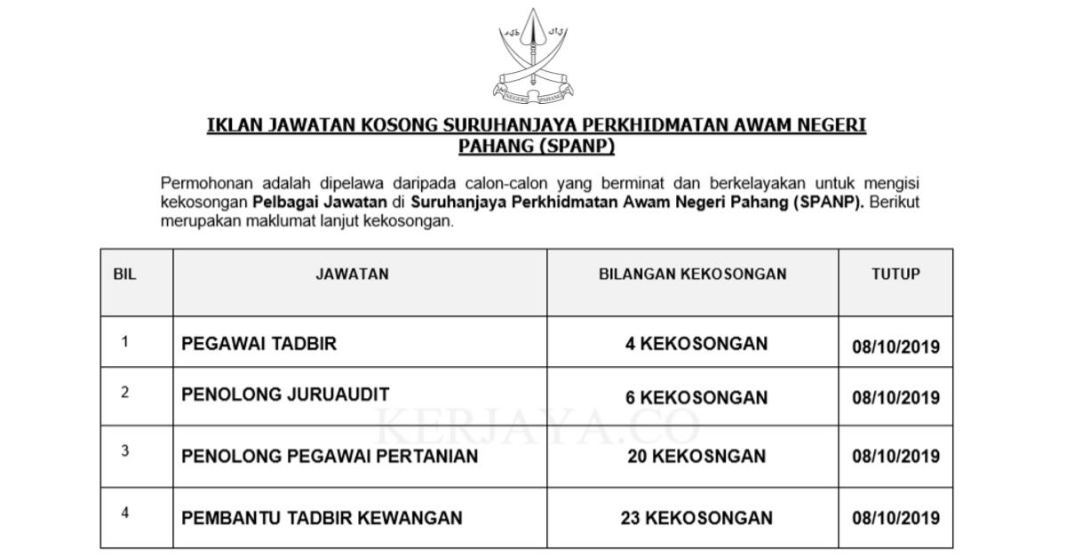 Jawatan Kosong Terkini Suruhanjaya Perkhidmatan Awam Negeri Pahang Spanp Kerja Kosong Kerajaan Swasta