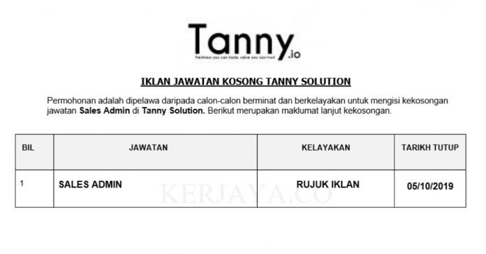 Tanny Solution ~ Sales Admin