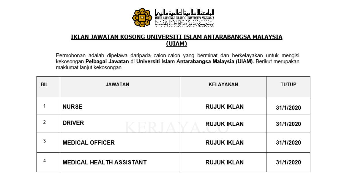 Universiti Islam Antarabangsa Malaysia (UIAM) ~ Pelbagai Jawatan