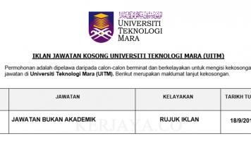 Universiti Teknologi Mara ~ Kekosongan Jawatan Bukan Akademik