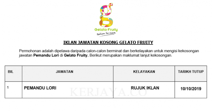 Gelato Fruity ~ Lorry Driver