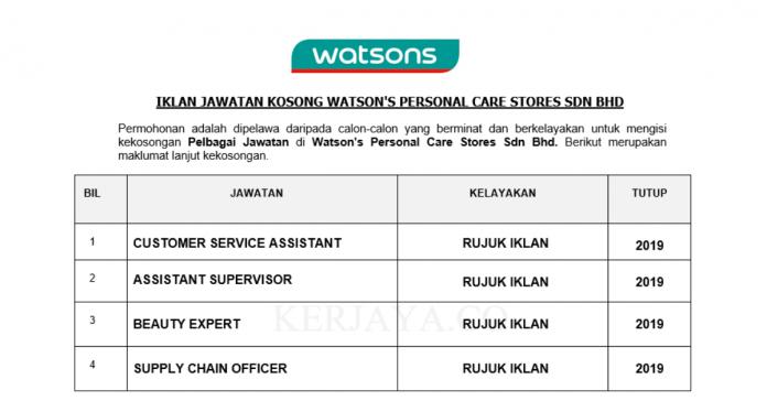 Temuduga Terbuka Watson's Personal Care Stores